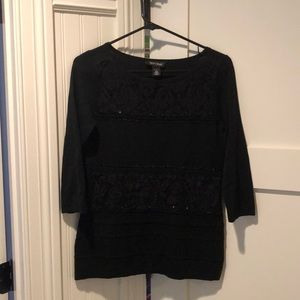 Black sweater with lace and rhinestone detail